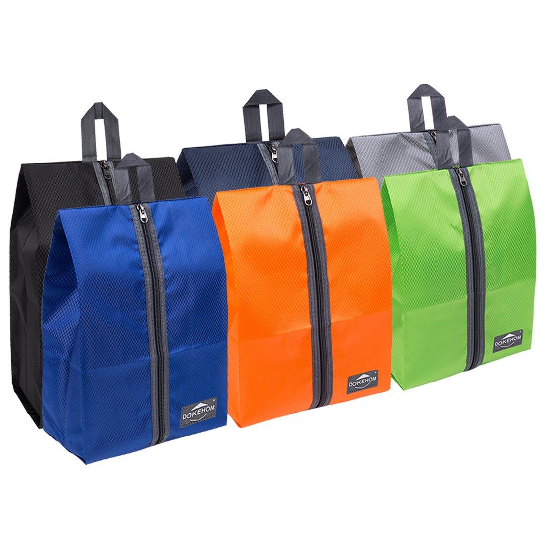 DOKEHOM DKA3030G1 Portable Nylon Travel Shoe Storage Organizer Bag (8 Colors) with Zipper Closure (Pack 6, Multicolor)