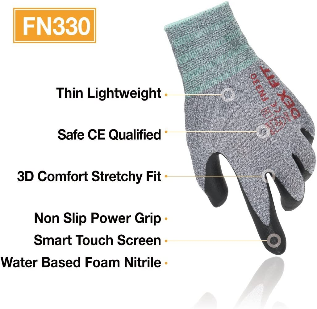 3D Comfort Stretch Fit Thin Lightweight Power Grip Machine Washable Durable Foam Nitrile Coating X-Large 3 Pairs Pack DEX FIT Black Nylon Work Gloves FN320