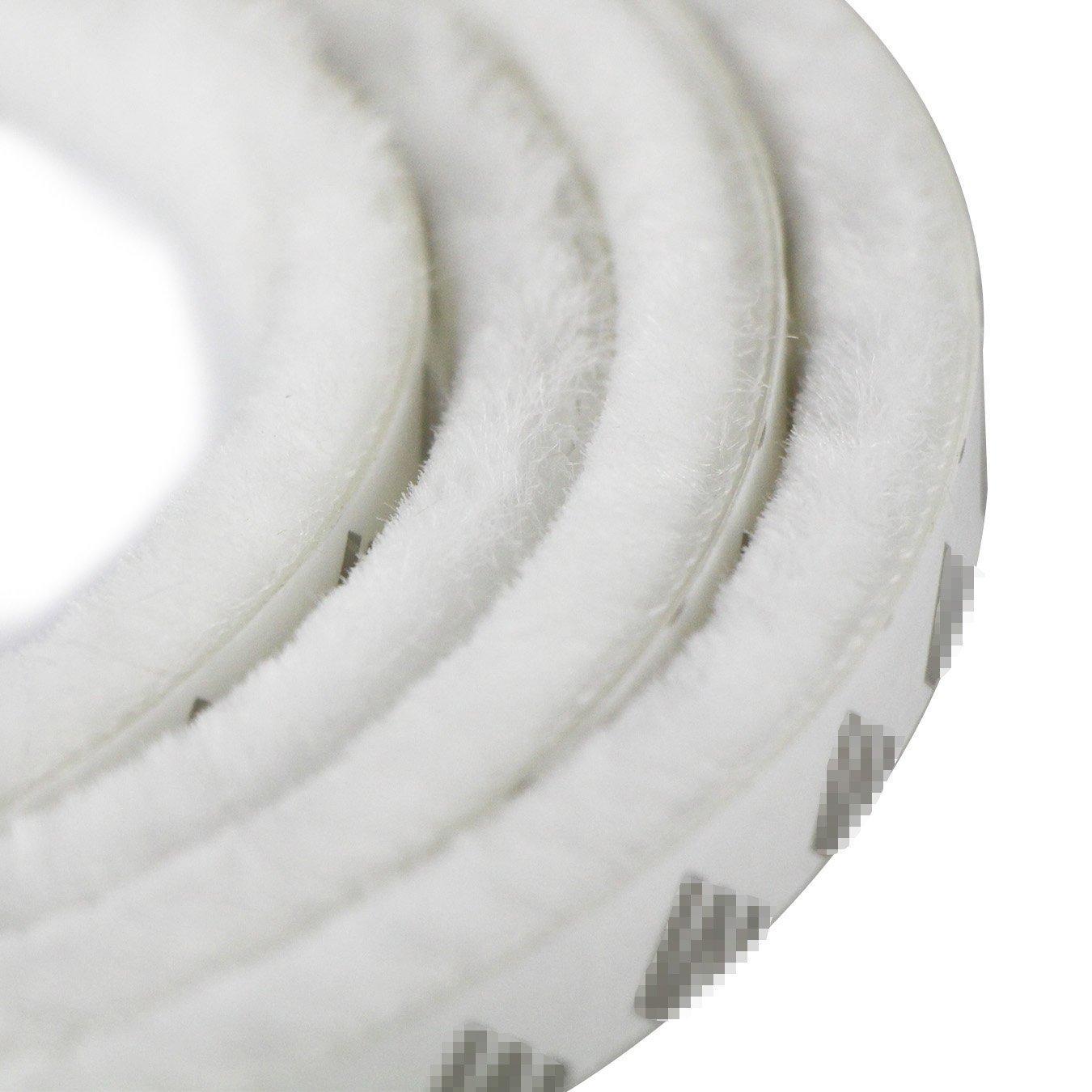 UOOOM 10m Door Window Self Adhesive Brush Strip Pile Windproof Dustproof Weather Strip Seal (Pile Height: 15mm (for gaps 7.5 - 13 mm), White)