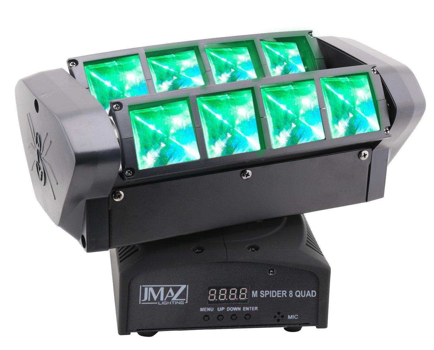 JMAZ M Spider 8 Quad Moving Head Light 8 x 12W RGBW Quad LED DMX512 For Stage Light Disco DJ Church Wedding Party Show Live Concert Lighting by JMAZ