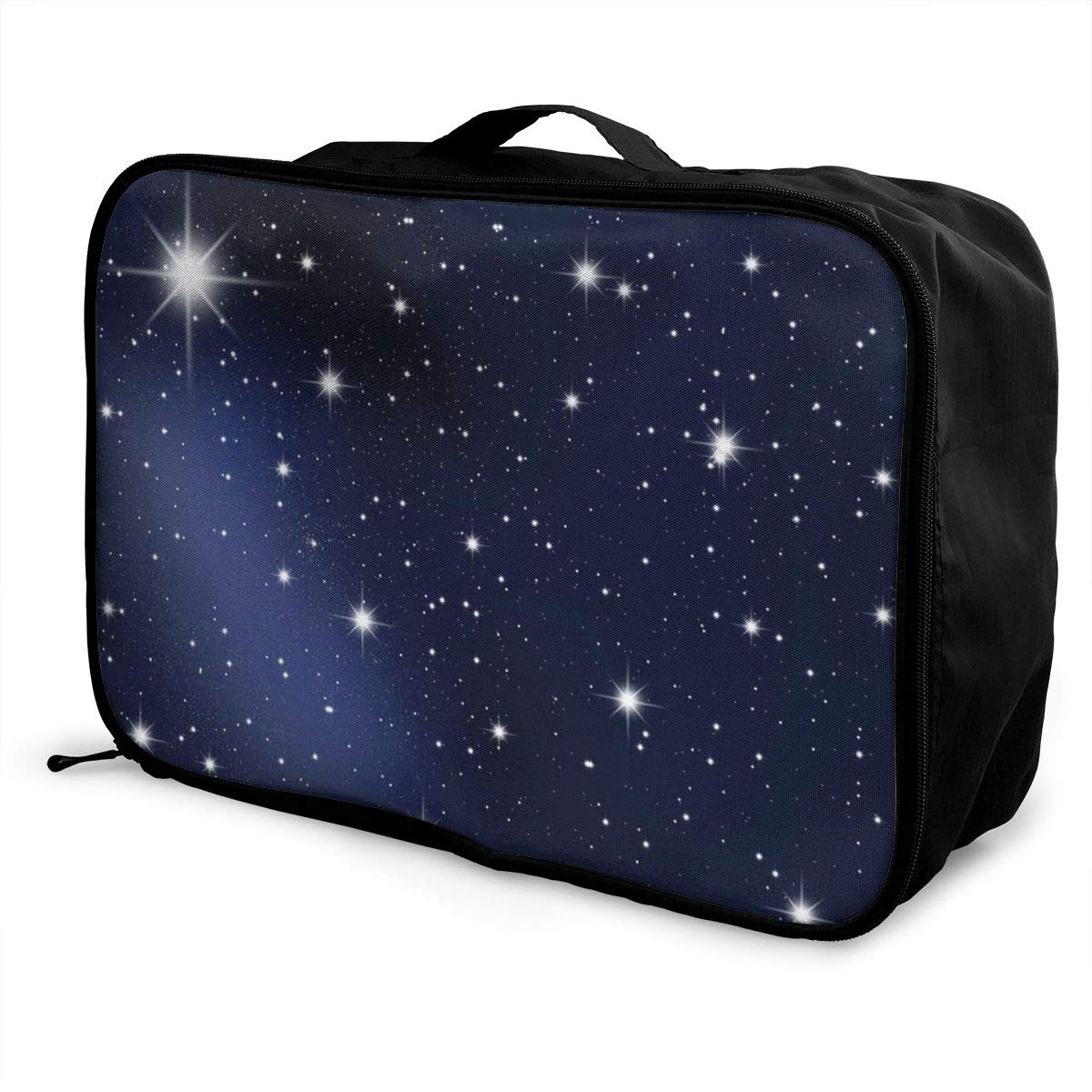 Moon Navy Blue Stars Night Sky Travel Lightweight Waterproof Foldable Storage Carry Luggage Duffle Tote Bag Large Capacity In Trolley Handle Bags 6x11x15 Inch