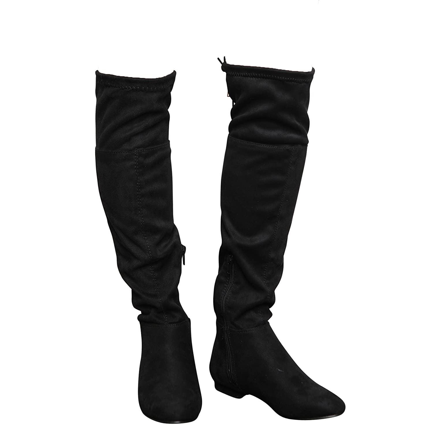 New Women/'s Ladies High Under The Knee Boots Long Low Heel Stretch Girls Shoes
