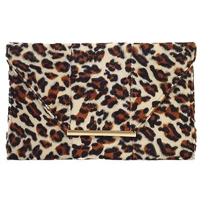 e3497379e Faux Fur Leopard Print Clutch, Beige: Handbags: Amazon.com