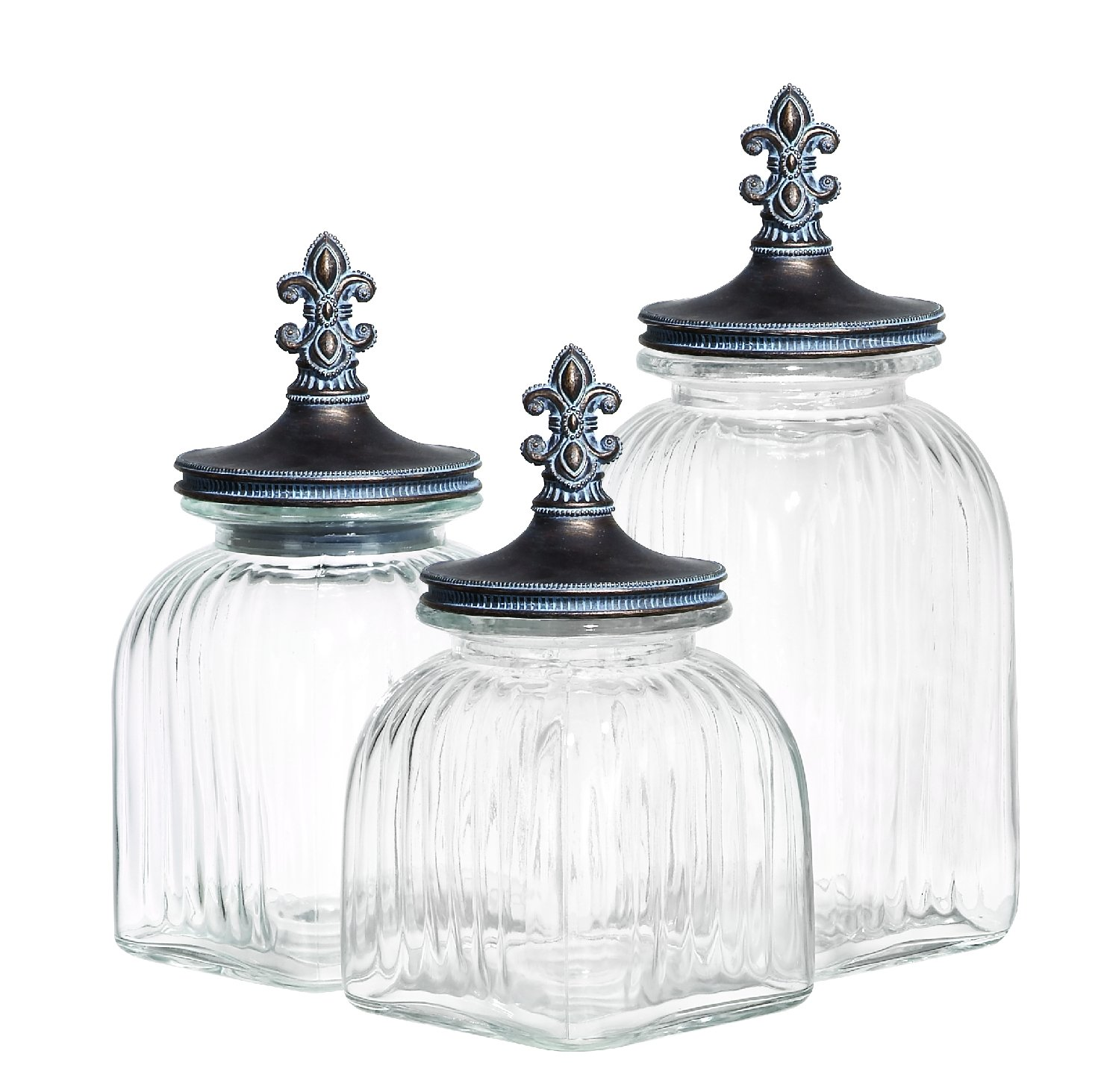 3 jars with finials