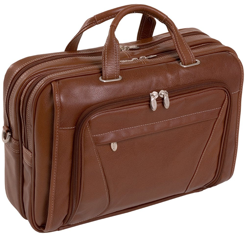 McKlein, S Series, Irving Park, Pebble Grain Calfskin Leather, 15'' Leather Double Compartment Laptop Briefcase, Brown (15574)