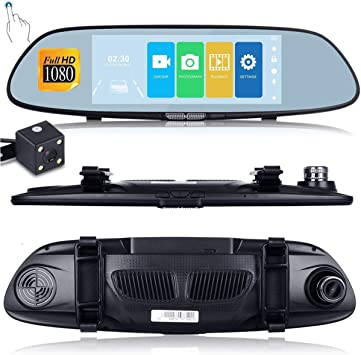 HD 1080P 7/'/' Car Vehicle Rearview Mirror Camera Recorder DVR Dual Lens Dash Cam