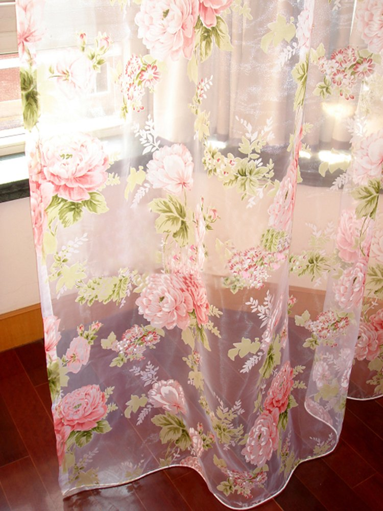 - 84 Inch Long 60 Inch Each Panel Rod Pocket Sheer Curtain Total Size 120 Inch Wide Natural Light Flow Pink Flower Elegant 2 Pieces