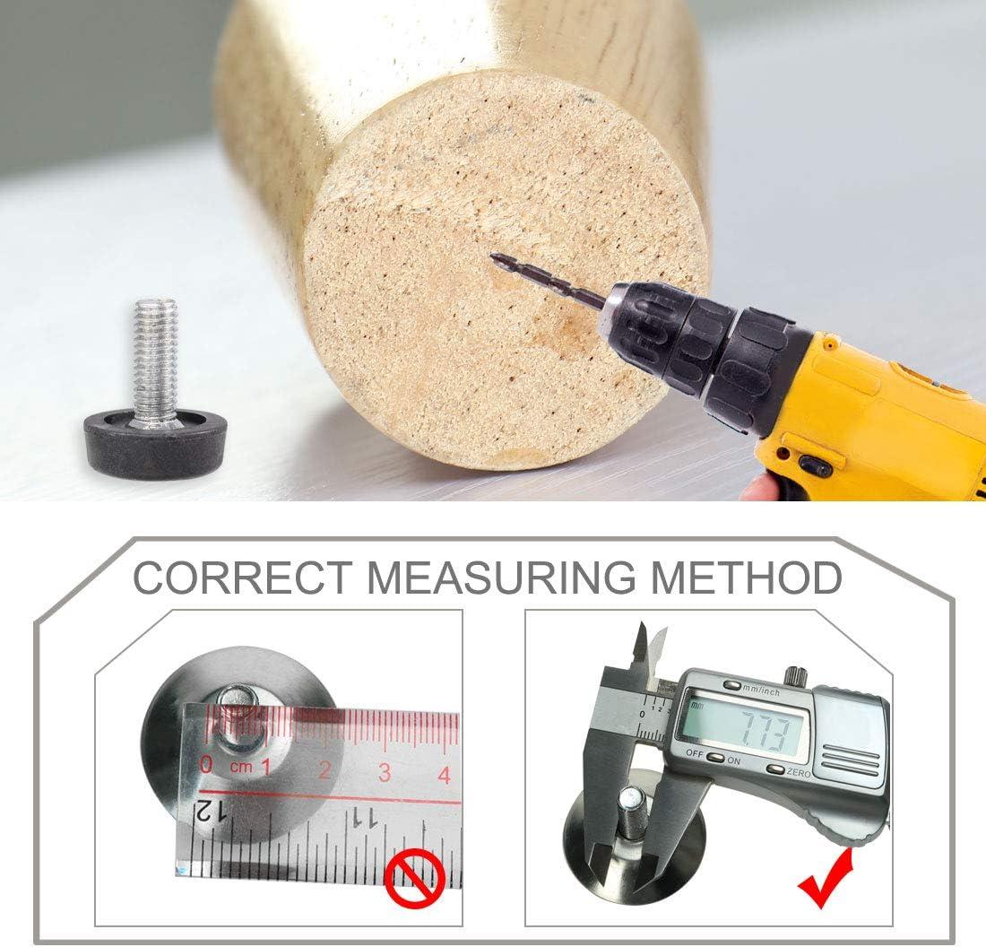 sourcingmap 5 piezas boquillas de rosca para muebles de pie ajuste con cierre de bot/ón magn/ético negra 8 x 20 mm