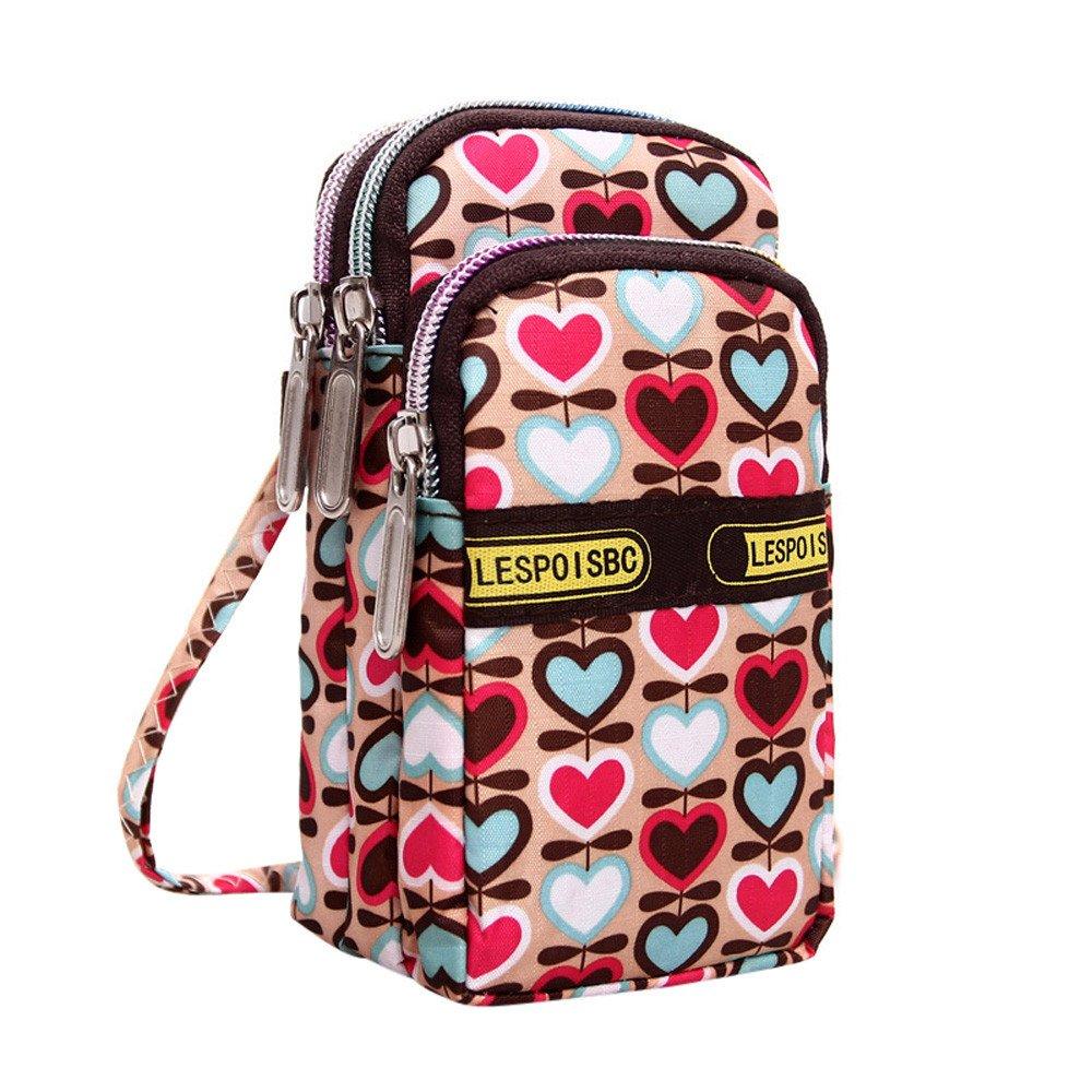 Clearance!Women Print Wallet Zip Around Messenger Wristlet Coin Key Cellphone Bag Handbag Small Crossbody Travel Purse