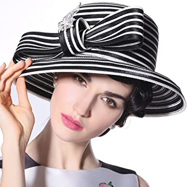 5c1062bf6a9 June s Young Women Ladies Hats Church Hats Party Show White (Black white hat )
