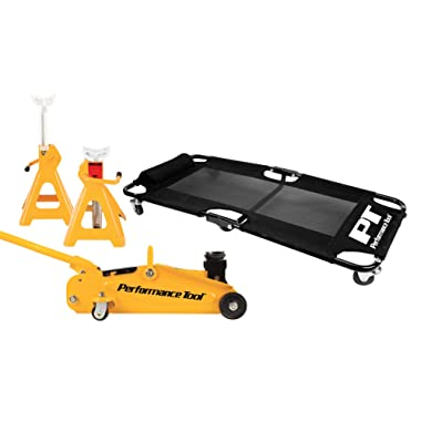 Performance Tool W85030 2 Ton (4,000 lbs.) Floor Jack, Creeper and 2 Ton Jack Stand Pair (4,000 lbs) Garage Starter Set
