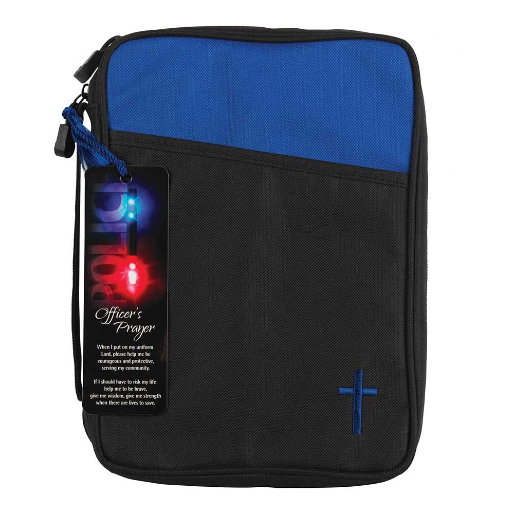 Police Officer's Prayer Blue and Black Canvas Bible Cover Case with Handle Large