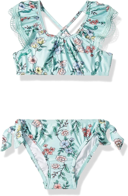Seafolly Girls Ruffle Sleeve Bikini Swimsuit Set with Criss Cross Back