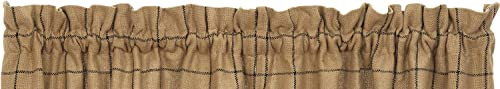 Swag Window Curtain Burlap Check Design 100 Pure Cotton Fabric 72 x36 in Natural Sand, Black Color IHF Home Decor