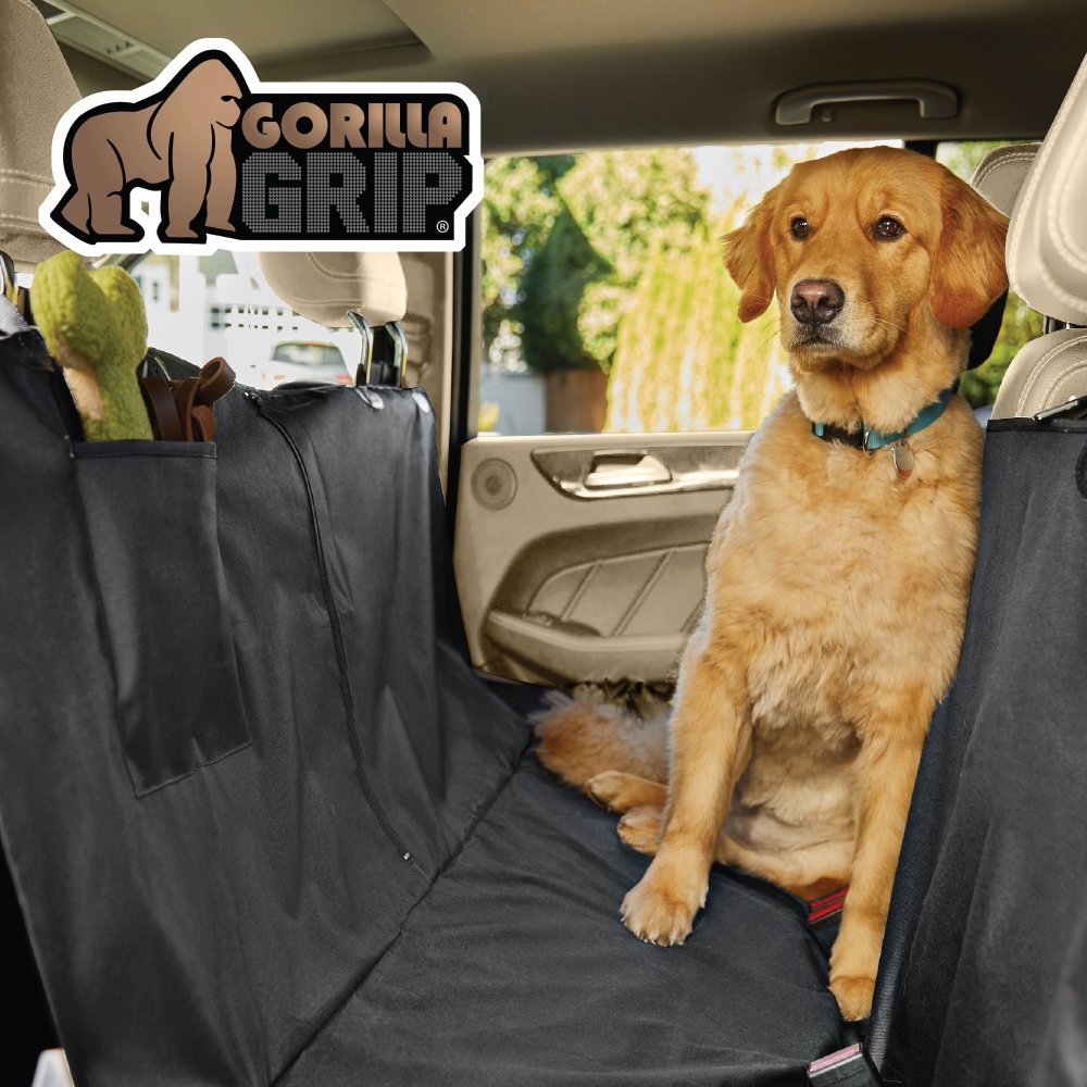 Gorilla Grip Original Premium Slip-Resistant Pet Car Seat Protector Pets, Durable Protectors Cars, Truck, SUV, Underside Grip, Waterproof, Seat Belt Openings, Pocket, X-Large (Hammock: Black)