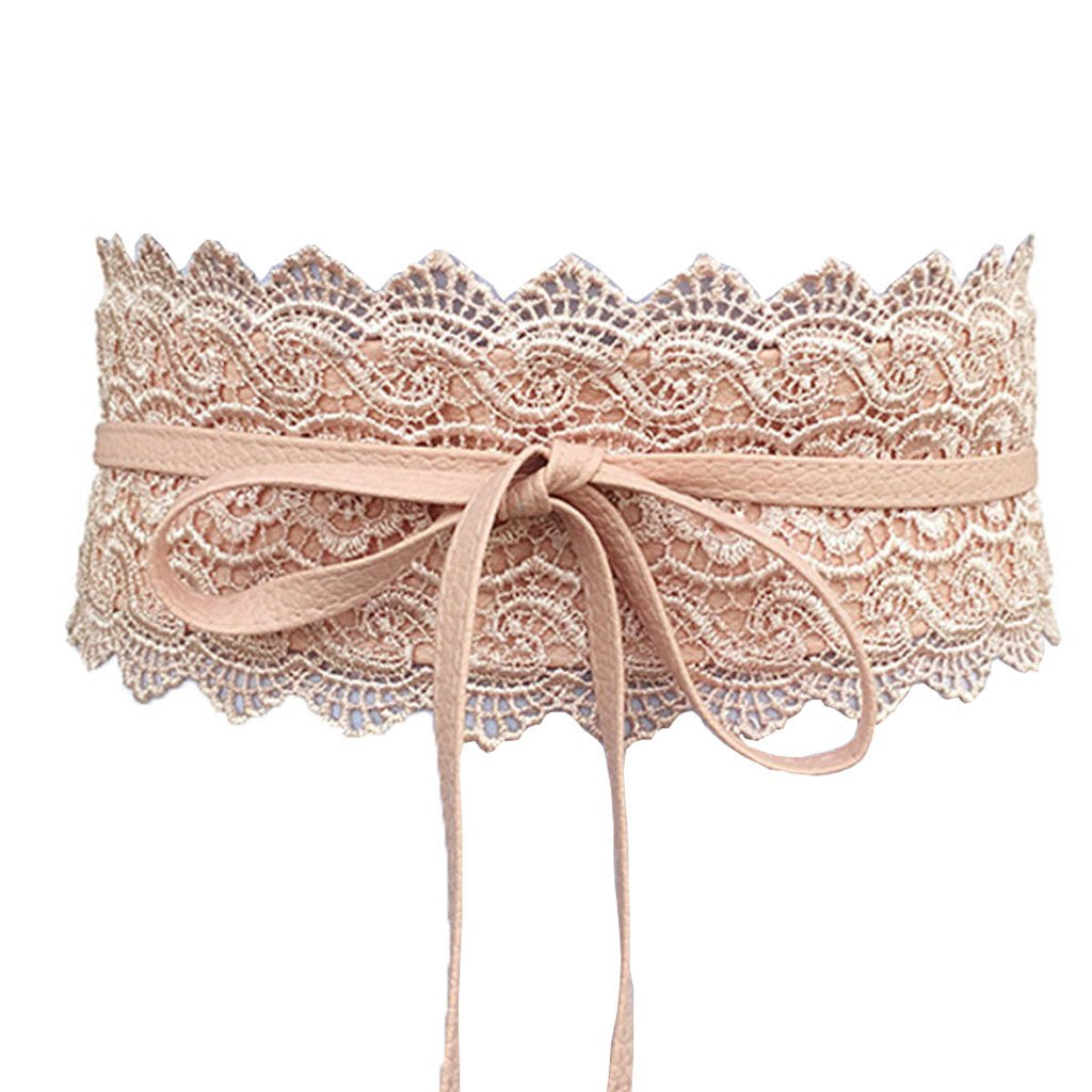Charming House Women's Vintage Obi Bowknot Leather Wide Waist Cinch Belt (Lace Pink)