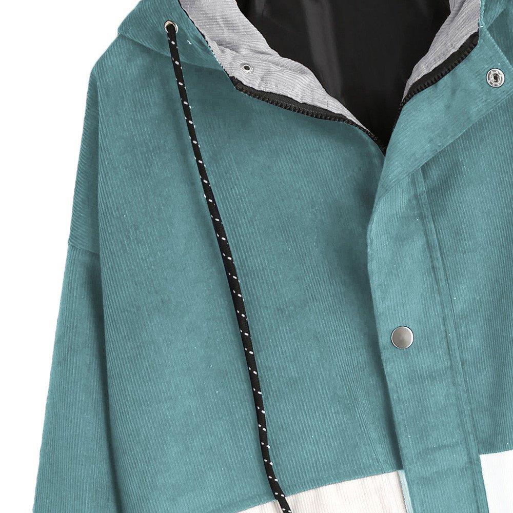 Damen Mantel, Lonshell Cord Farbe Patchwork Windbreaker Oversize Jacke Frühling Mantel