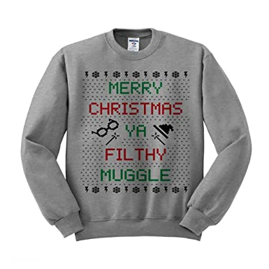 merry christmas ya filthy muggle sweatshirt unisex small grey
