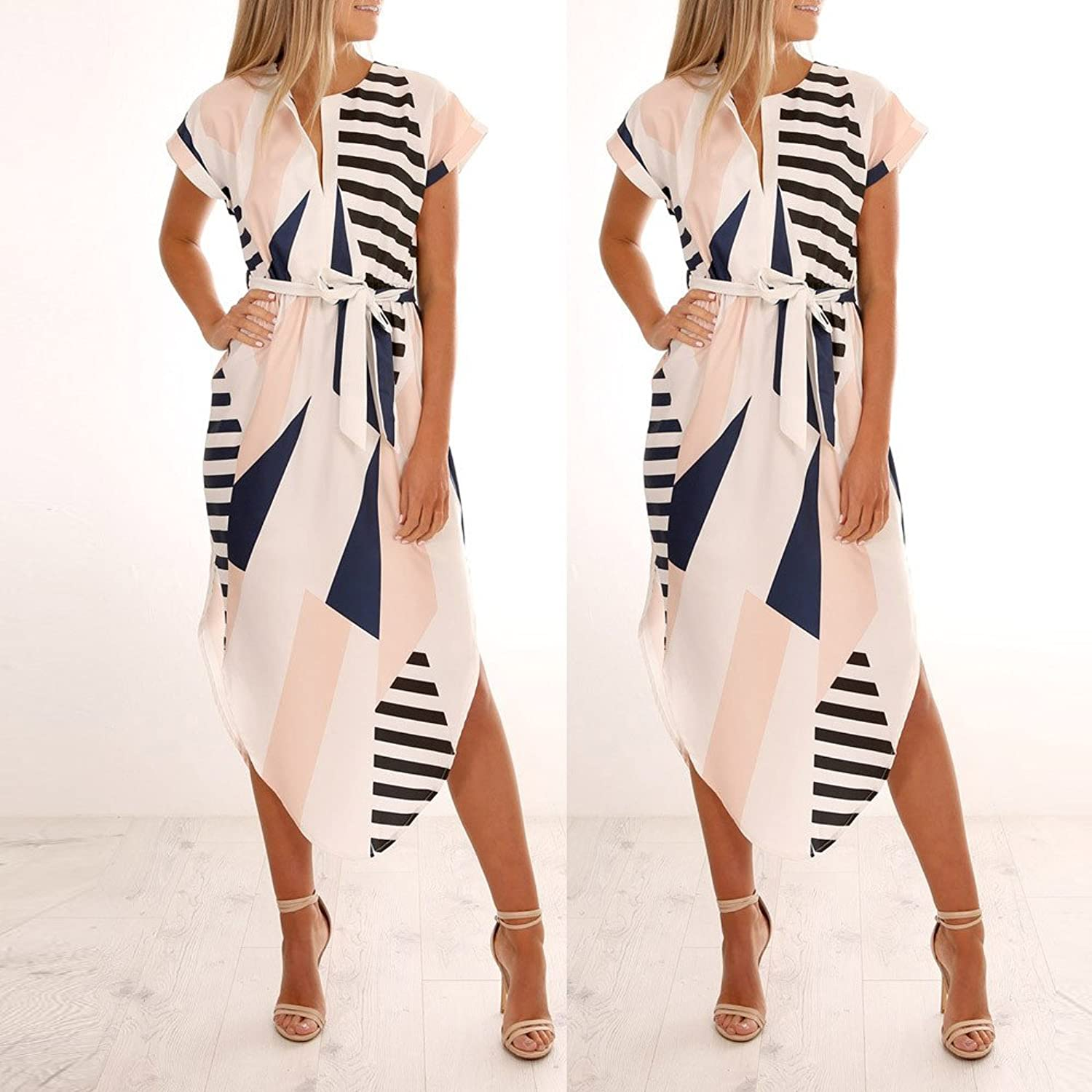 Hongxin Women Tunic Evening Party Dress Summer Irregular Boho Beach Dress Geometric Print Midi Robe Vestidos Mujer at Amazon Womens Clothing store: