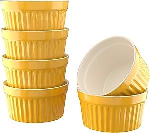 Kook 8 oz Porcelain Ramekins, Oven Safe, For Baking Pot Pies, Creme Brulee. Lava Cake, Set of 6 (Mustard)