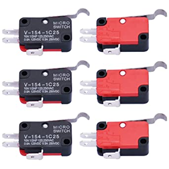 6Pcs Micro Limit Switch Long Hinge Bending Lever Arm SPDT Snap Action Switch for Arduino V-154-1C25 Twidec