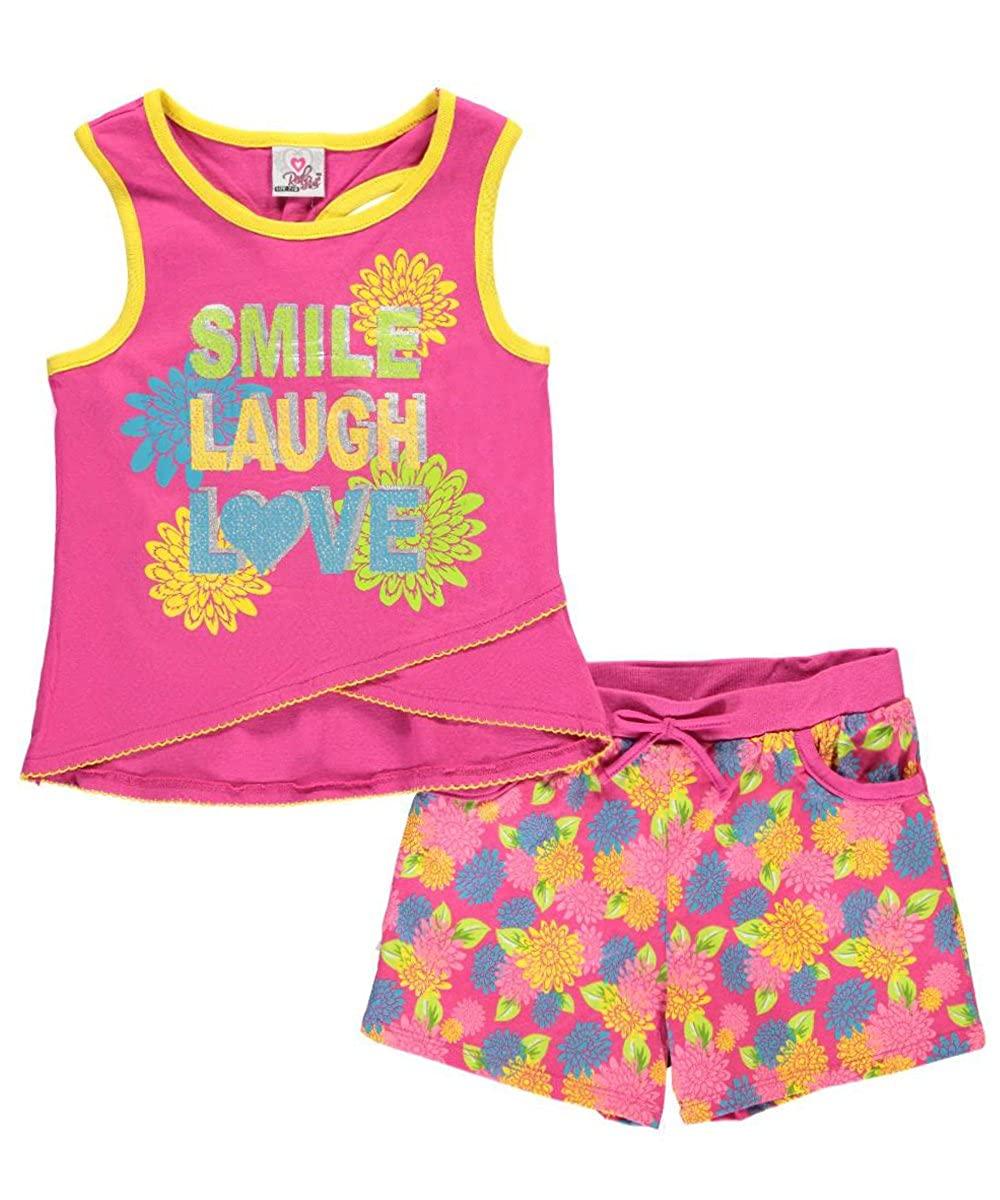 Real Love Big Girls' Smile, Laugh, Love 2-Piece Outfit & Love 2-Piece Outfit - fuchsia 7 - 8