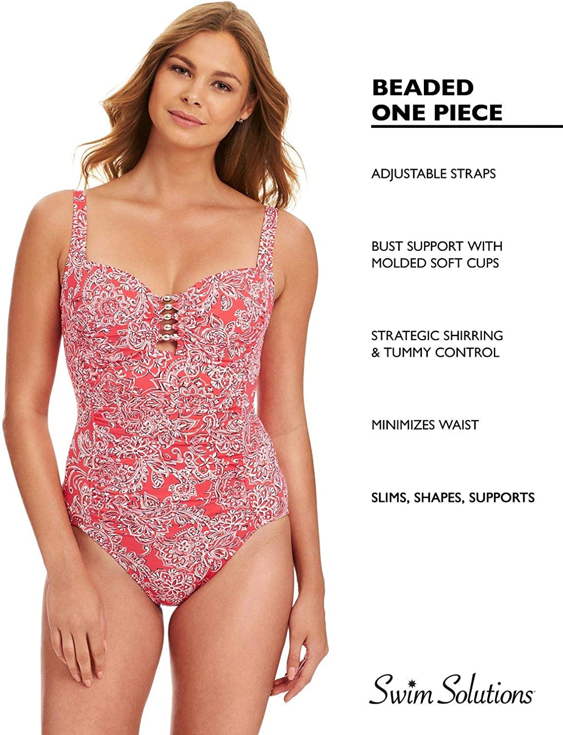 Swim Solutions Tummy-Control Beaded One-Piece Swimsuit Coral Size 8