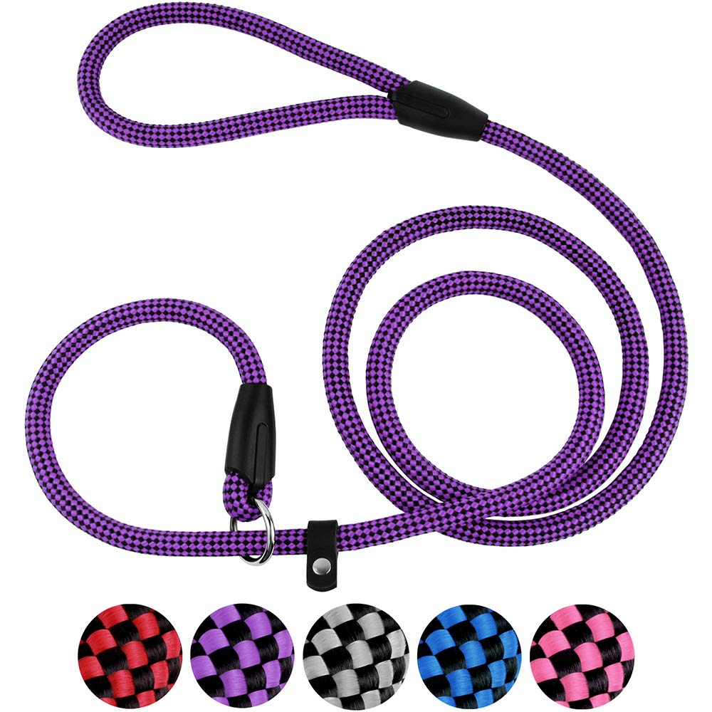 CollarDirect Rope Slip Dog Leash 6FT Heavy Duty Training Pet Lead for Small Medium Large Dogs Pink Grey Purple Red Blue Black (Purple) by CollarDirect