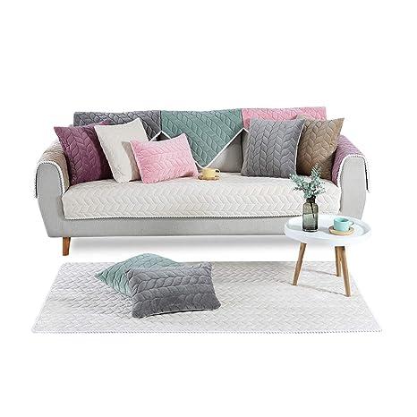 PETCUTE Fundas Sofa Chaise Longue Cubre Sofa Acolchado Fundas para Sofa sin Brazos Antideslizante Blanco Crema 110X240cm