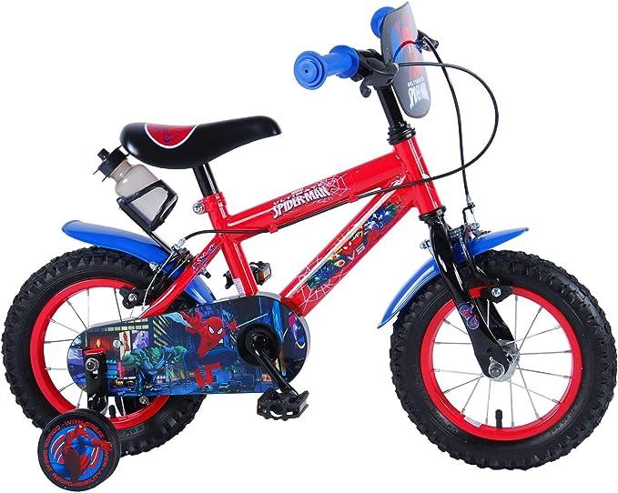 Bicicleta Infantil Niño Chico 12 Pulgadas Spiderman Hombre Araña Frenos al Manillar Ruedas Extraibles 85% Montada Rojo Azul: Amazon.es: Deportes y aire libre