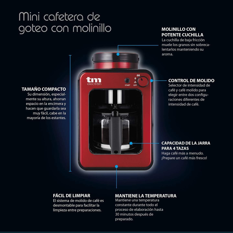 TM Electron TMPCF020R Mini cafetera de Goteo con Molinillo Grano ...