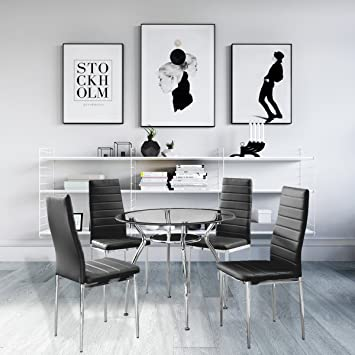 Lovely 5 Piece Home Dining Kitchen Furniture Set Round Table With Glass Top And 4  Chairs