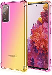 EasyLifeGo for Samsung Galaxy S20 FE Case Slim Shock Absorption Flexible TPU Soft Edge Bumper with Reinforced Corners Multicolor Gradient Protective Cover, Pink Gold