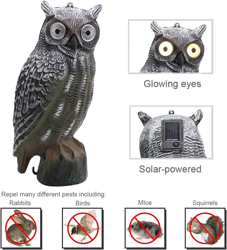 YOFITSolar Bird Scarecrow Fake Horned Owl Decoy, Bird Repellent Garden Protectors, Natural Enemy Pest Deterrent Scarecrow