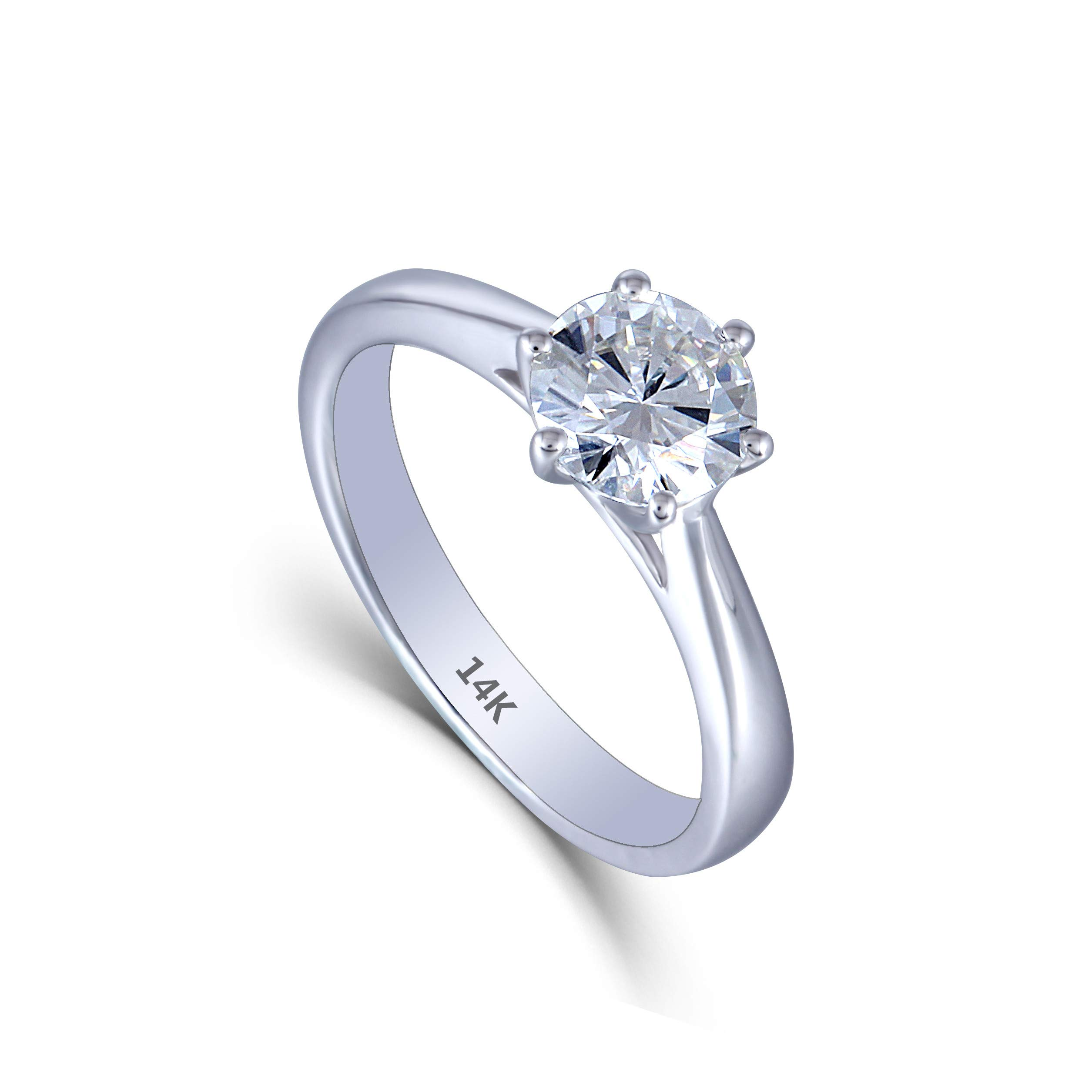 DovEggs Solid 14K White Gold 1ct 6.5mm GH Color Heart Arrows Cut Created Moissanite Solitare Engagement Rings for Women(6.5) by DovEggs