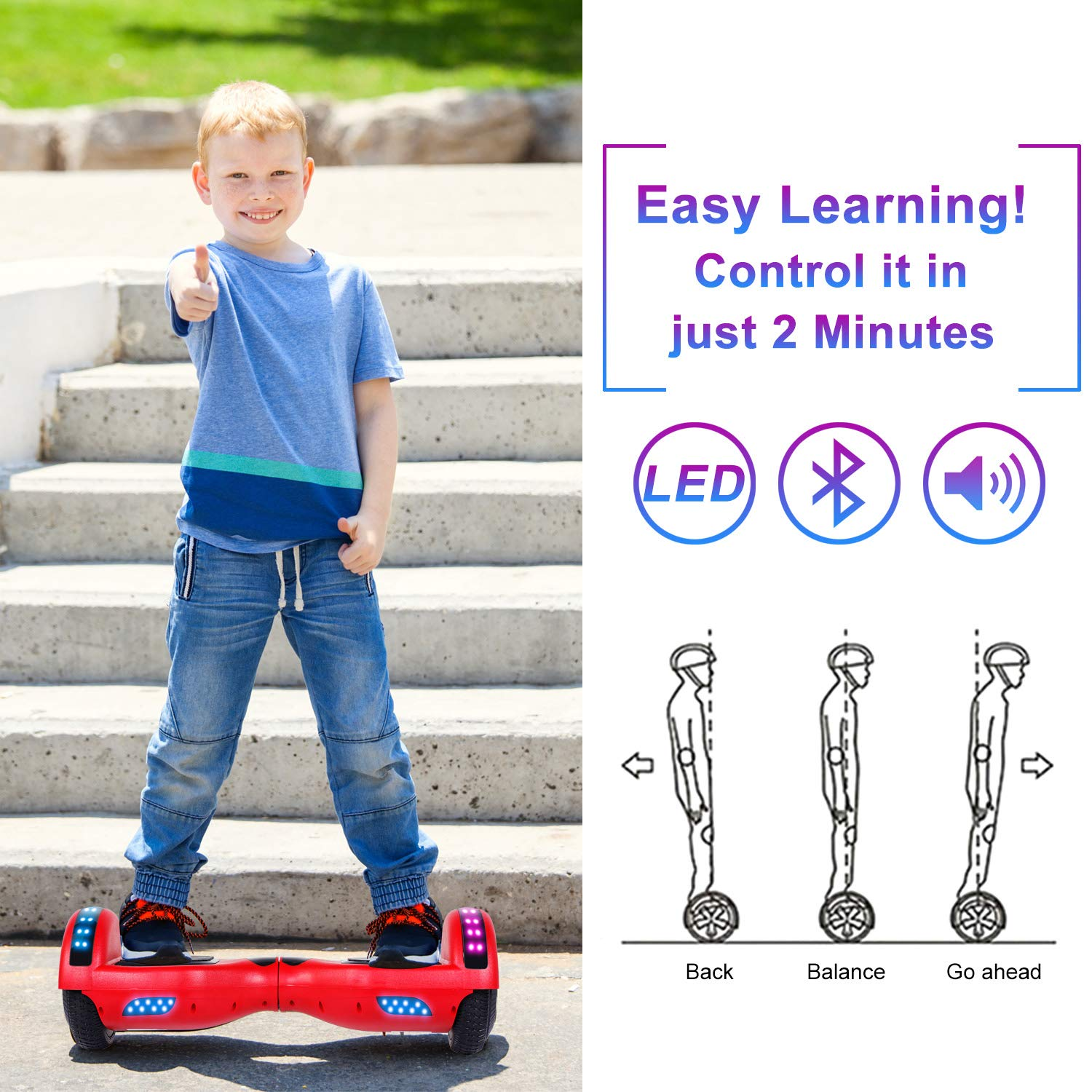 "SISIGAD Hoverboard 6.5"" Self Balancing Scooter with Colorful LED Wheels Lights Two-Wheels self Balancing Hoverboard Dual 300W Motors Hover Board UL2272 Certified(Free Carry Bag Available) by SISIGAD (Image #6)"