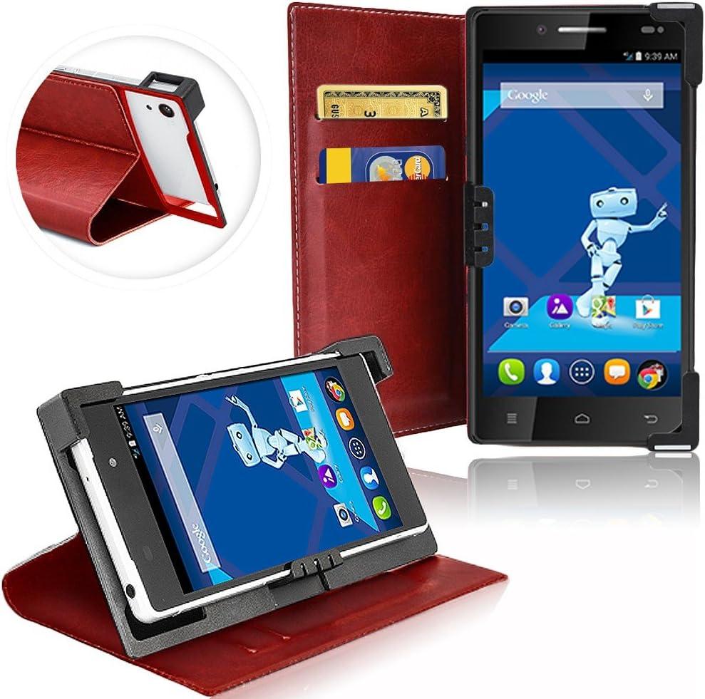 Carcasa Universal de Teléfono Móvil o smartphone para Haier Phone 31, Carcasa de Protección de Móvil de Plástico para uso de cámara y clips de sujección flexibles con función atril – combina