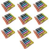 Perfectprint cartuccia di ricambio per Canon IP7250MG5450MG5550MG6350MG6450MG7150MX925MX725IP7250MG5450MG5550MG6350IP7250MG5450(nero/nero/ciano/magenta/giallo,  pezzi)