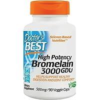 Doctors Best 3000 GDU Bromelain, 500mg, 90 Vegan Capsules (500mg, 90 Vegan Capsules)