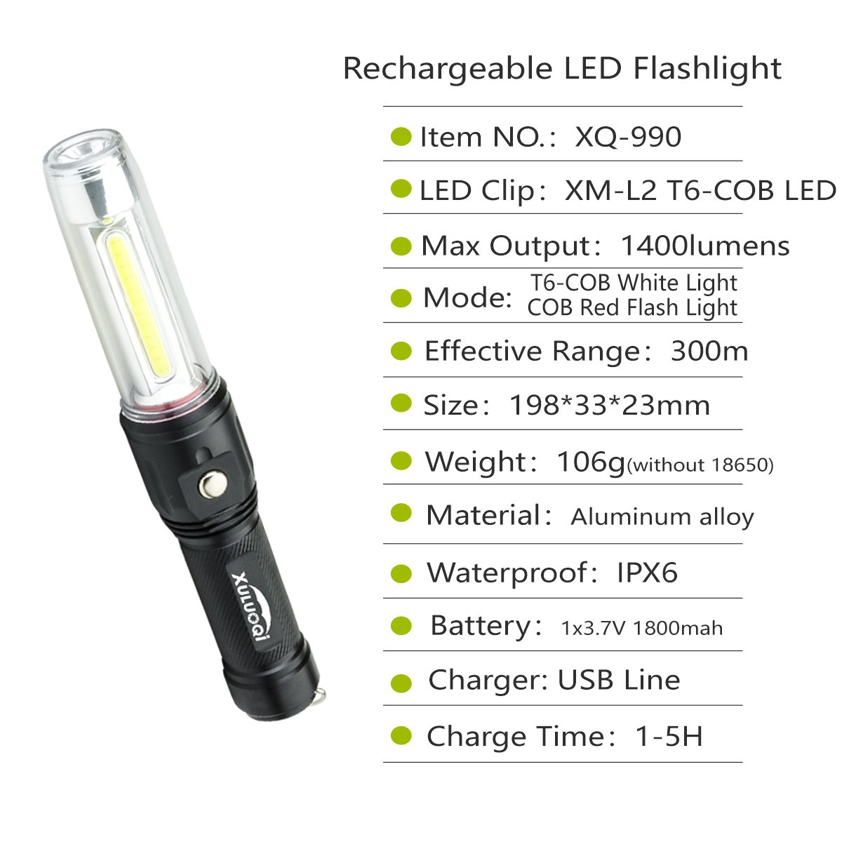 XULUOQI Work Light Super Bright LED Flashlight, Multi-function Flashlight 3 in 1 rechargeable Work Light - 900 Lumens Handheld Emergency Light with Magnetic Base Safety Roadside Light Car Maintenance by XULUOQI (Image #7)