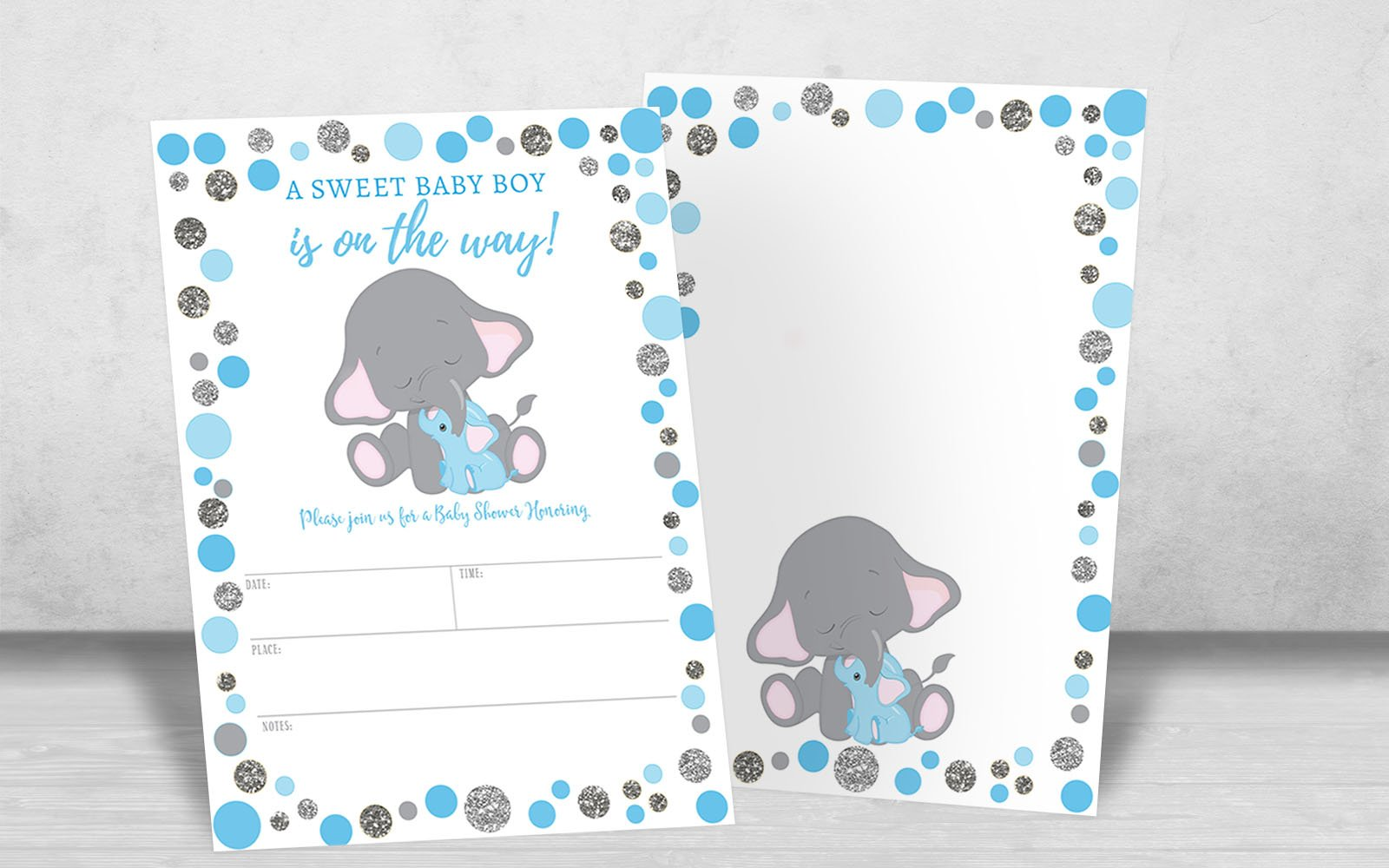 Boy Elephant Baby Shower Invitation, Blue and Silver Elephant Baby Shower, Jungle Baby Shower Invite, It's a Boy, 20 Fill in Invitations and Envelopes by Your Main Event Prints (Image #4)