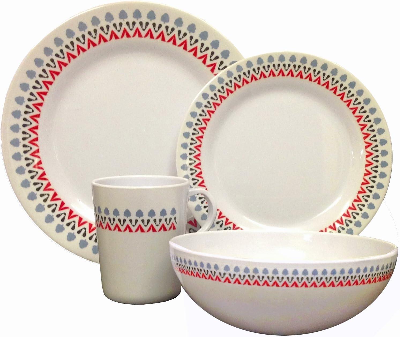16pcs Melamine Dinner Set Plates Bowls Mugs BBQ Caravan Camping Fishing Picnic