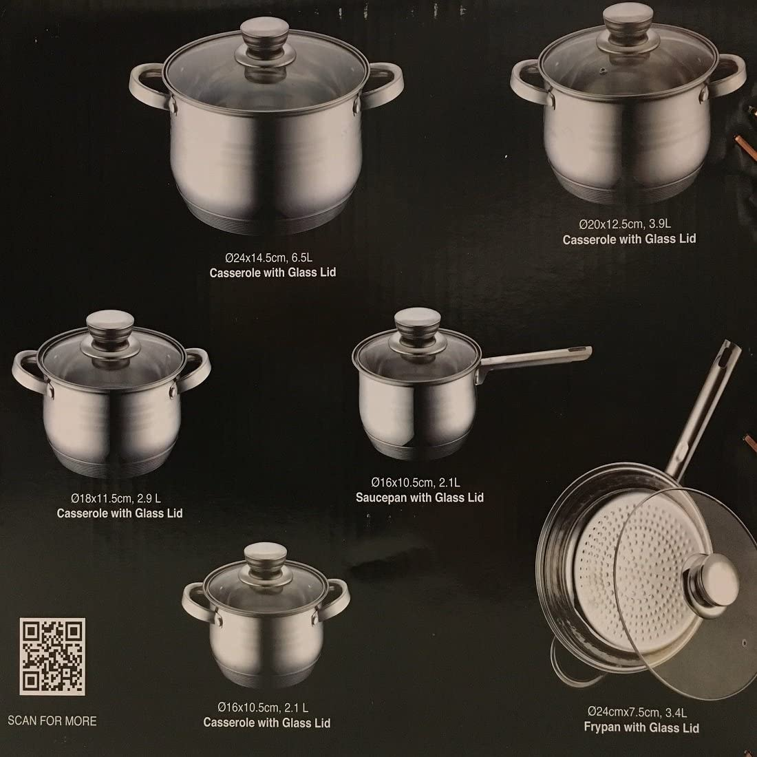 Royalty Line Batterie de cuisine en c/éramique et marbre 10 pi/èces Bleu