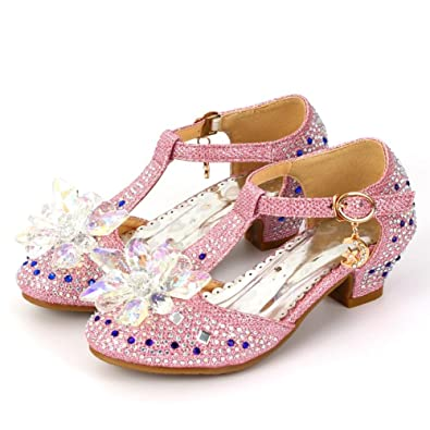 bd0ee5eb9366 Children Girls Princess Shoes Glitter Rhinestones Dance Shoes Buckle High  Heels Strap (8 M Toddler