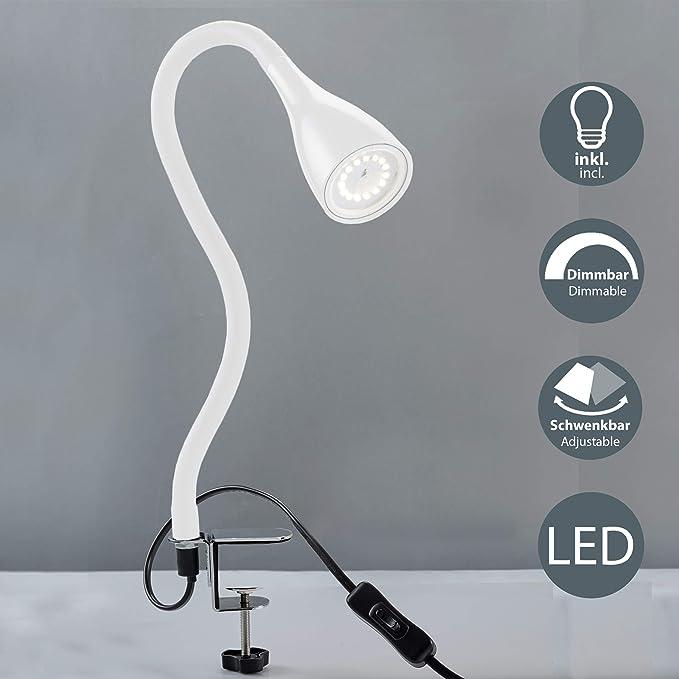 LED Klemmleuchte 4W 360/° Flexibel Schwanenhals Leselampe f/ür Schlafzimmer B/üro Dimmbar Augepflege Bettleuchte mit 3 Helligkeitstufe