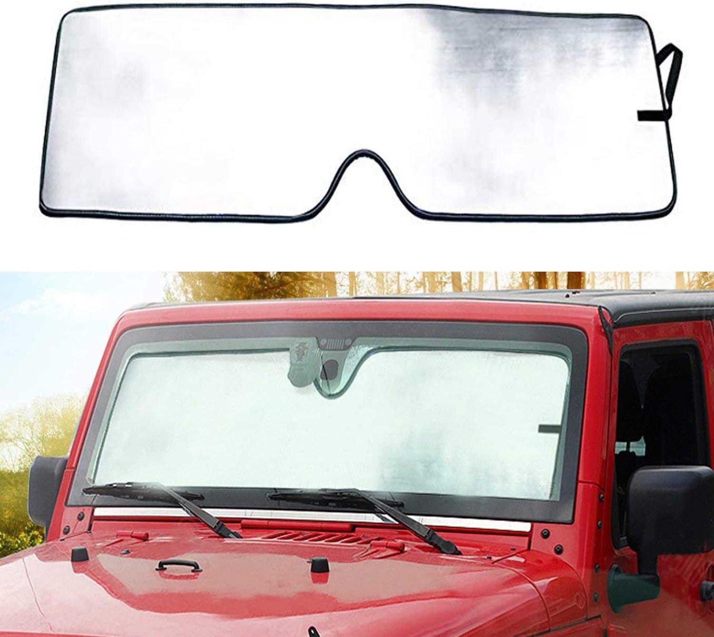 Bolaxin Windshield Sunshade Sun Shade for Jeep Wrangler 2007-2018