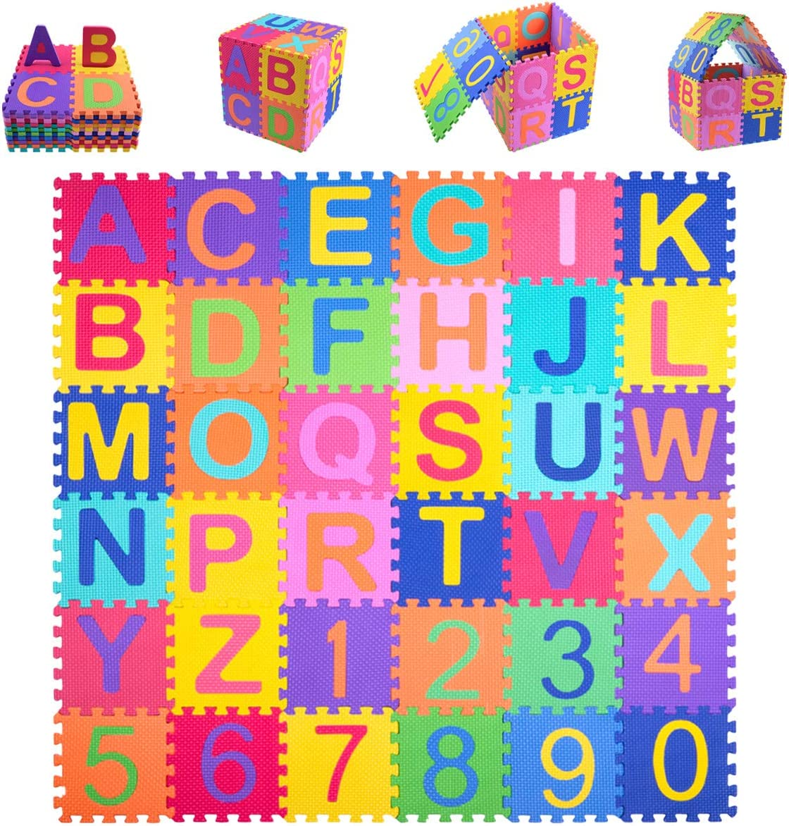 Kangler Kids Foam Puzzle Play Mat (36-Piece Set) Interlocking EVA Floor Tiles with Alphabet and Numbers: Toys & Games