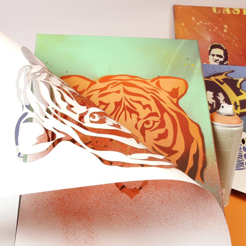 travaux manuels /Carton/ /Peinture /A3/42/x 29,7/cm/ Mur Meubles Pochoir QBIX Animaux africains Silhouettes Pochoir /él/éphant/ /Largeur 12/cm/