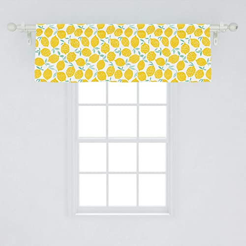 Lunarable Mint and Yellow Window Valance, Summer Fruit Pattern with Dots Stripes Doodle Lemons and Leaves, Curtain Valance for Kitchen Bedroom Decor with Rod Pocket, 54 X 18 , Mint Green and Yellow