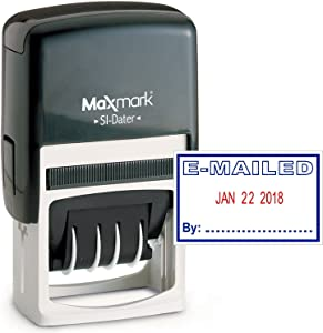 MaxMark Office Date Stamp with E-MAILED Self Inking Date Stamp - Blue/RED Ink